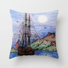 Tall Ship in the Moonlight Throw Pillow