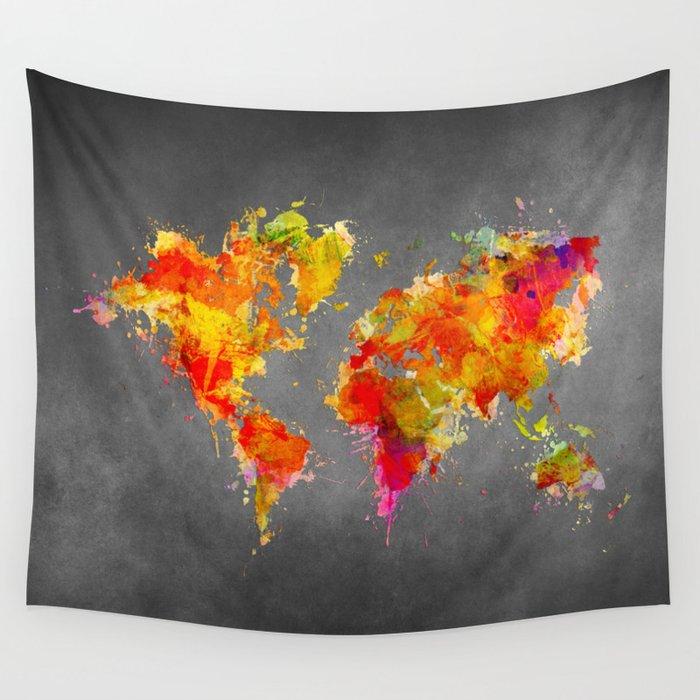 World Map splash red Wall Tapestry