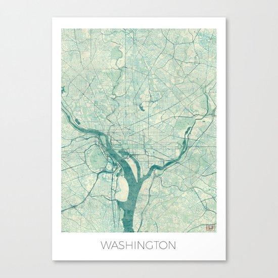 Washington Map Blue Vintage Canvas Print