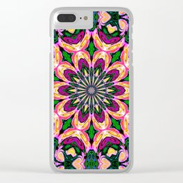 Abstract colorful Heart Flower Seamless Pattern Vector illustration Clear iPhone Case