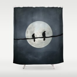 Two Crows In The Light Of A Silvery Moon Shower Curtain