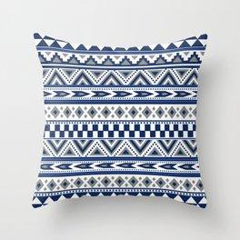 Tribal Art Pattern Navy Blue Silver White Throw Pillow