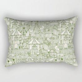 retro circus green ivory Rectangular Pillow