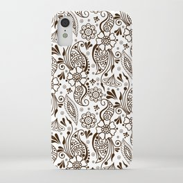 Mehndi or Henna (Brown and White) iPhone Case