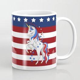 American Flag Stars and Stripes Unicorn Coffee Mug