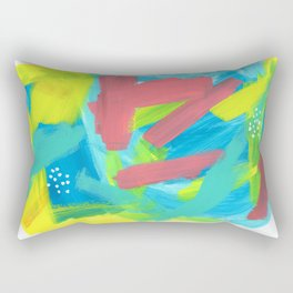 BE BRAVE, BE OK blue abstract painting mint green drawing modern art acrylic summer ocean Rectangular Pillow