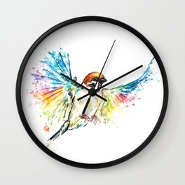Colorful Sparrow Watercolor Painting Wall Clock