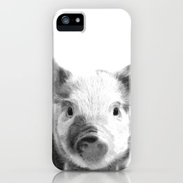 Black and white pig portrait iPhone Case