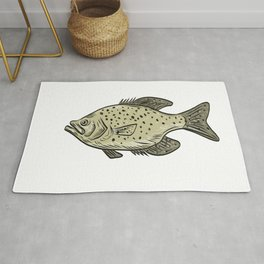 Crappie Fish Side Drawing Rug