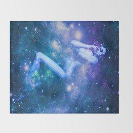 Blue Galaxy Woman : Nude Art Throw Blanket
