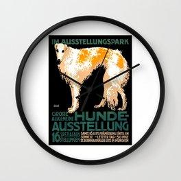 Vintage German Dog Show Advertising Poster Wall Clock
