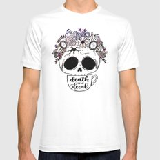Death Before Decaf White Mens Fitted Tee MEDIUM