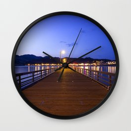 Aavila Beach pier at dusk Wall Clock