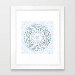 Teal Aqua Mandala Framed Art Print