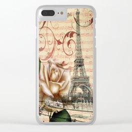 vintage chandelier white rose music notes Paris eiffel tower Clear iPhone Case
