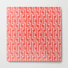 Red Aand White Latticework Pattern Metal Print