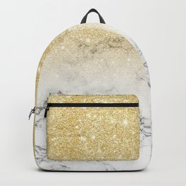 Modern faux gold glitter white marble color block Backpack
