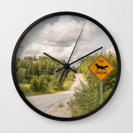Fox crossing Wall Clock