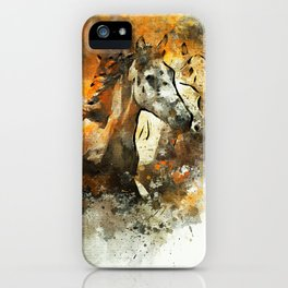 Watercolor Galloping Horses On Raw Canvas | Splatter Painting iPhone Case