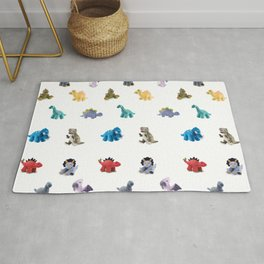 Ten Plush Dinos Pattern Rug