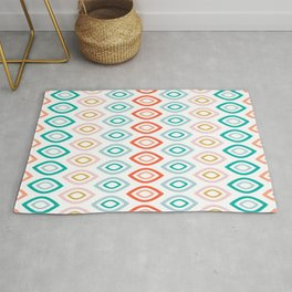 Mid Century Modern Geometric Shapes in Muted Colors Orange Coral, Pink, Blue, Teal, and Gold Rug
