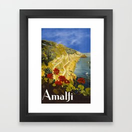 Vintage Amalfi Italy Travel Framed Art Print