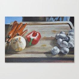 Still Life of Chopping Veggies Canvas Print