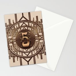 Art Deco Vintage Characters - Number Five Gold 5 Stationery Cards