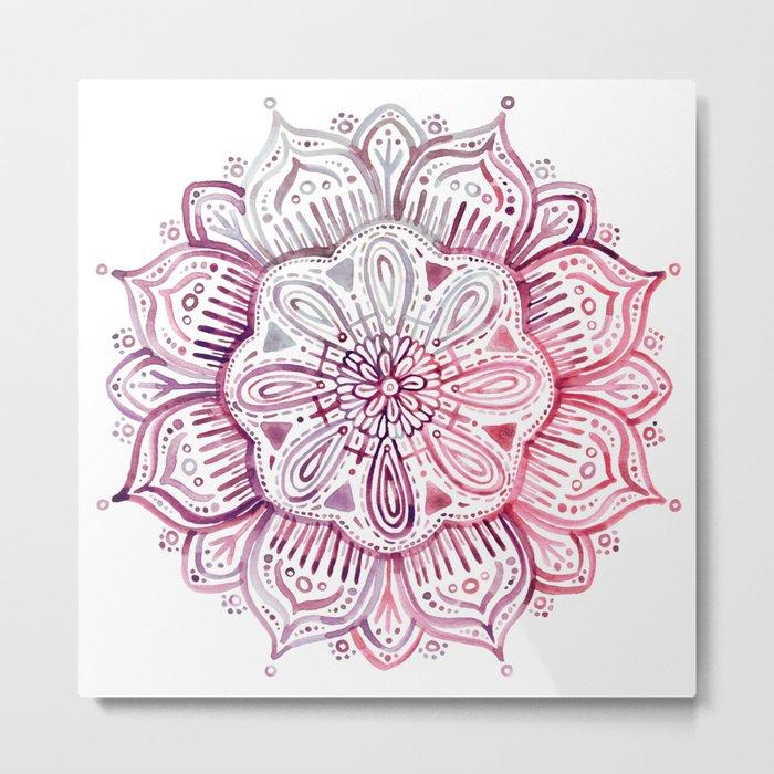 Burgundy Blush Watercolor Mandala Metal Print