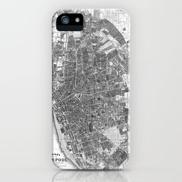 Vintage Map of Liverpool England (1890) BW iPhone Case