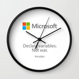Declare variables. Not war. Wall Clock