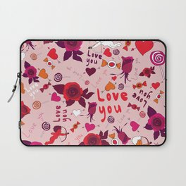 love pattern with hearts, cupid, candy and roses Laptop Sleeve