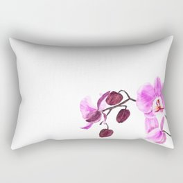 pink orchid flower watercolor painting Rectangular Pillow