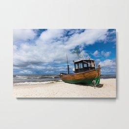 Fishing boat on the beach Metal Print