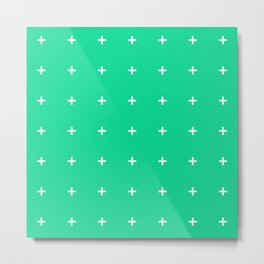 PLUS ((white on emerald green)) Metal Print