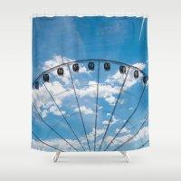 ferris wheel Shower Curtains featuring Ferris Wheel by TheYUCK