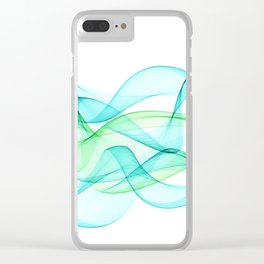 Sea Wave Pattern Abstract Aqua Blue Green Waves Clear iPhone Case