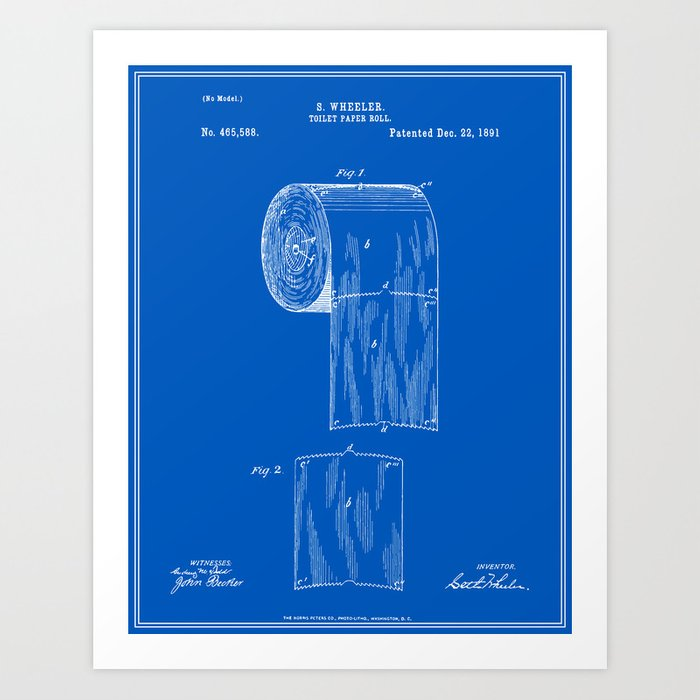 Toilet paper roll patent blueprint art print by finlaymcnevin toilet paper roll patent blueprint art print malvernweather Images