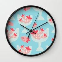 dessert Wall Clocks featuring Strawberry Dessert by Rachel Gresham