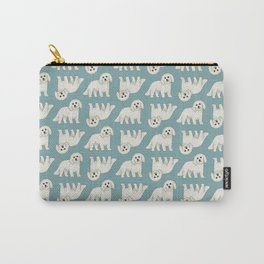 Bichon Frise Dog Pattern Green Carry-All Pouch