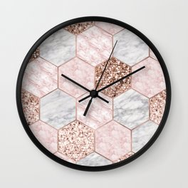 Rose gold dreaming - marble hexagons Wall Clock