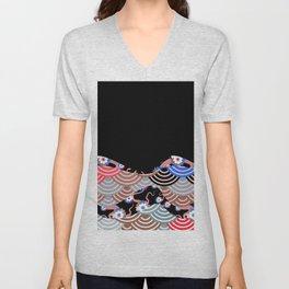 Nature background with japanese sakura flower Cherry, black wave circle pattern Unisex V-Neck