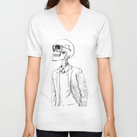 gentleman V-neck T-shirts featuring Gentleman by Mike Koubou