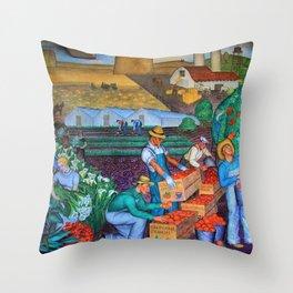 Coit Tower 'Orange Grove mural,' San Francisco, California Throw Pillow