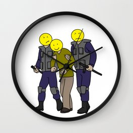happy face police positive thinking Mantra Gift Wall Clock