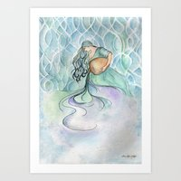 aquarius Art Prints featuring Aquarius by Aline Souza de Souza