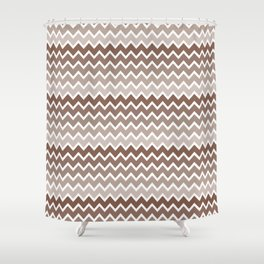 Brown Ombre Chevron Shower Curtain