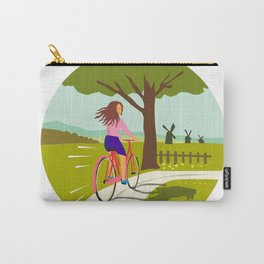 Girl Riding Bicycle Up Tree Circle Retro Carry-All Pouch