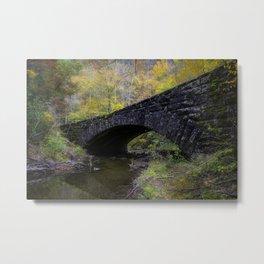 Laurel Creek Bridge - Autumn Colors Surround a Stone Bridge in Smoky Mountains Metal Print