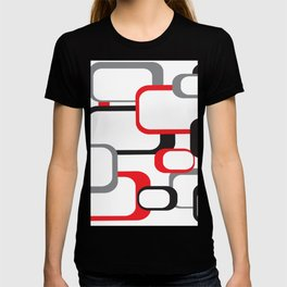 Red Black Gray Retro Square Pattern White T-shirt